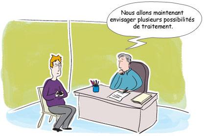 Le médecin envisage plusieurs possibilités de traitement