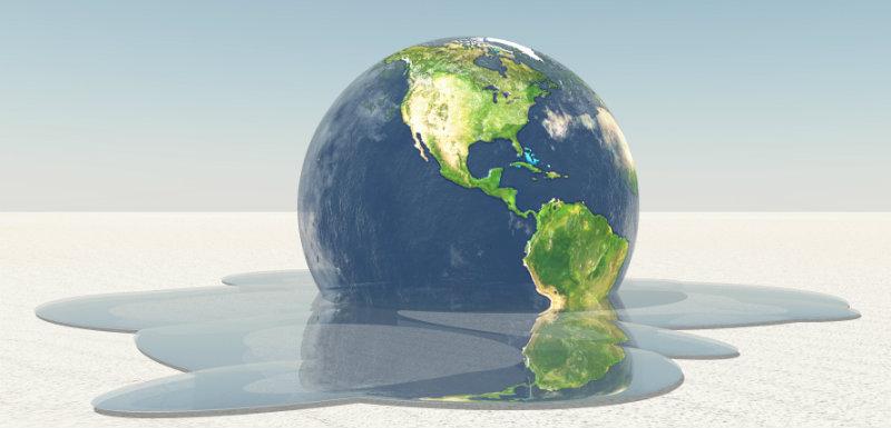 Terre qui fond dans l'eau à cause du rechauffement climatique et qui provoque de éco-anxiété